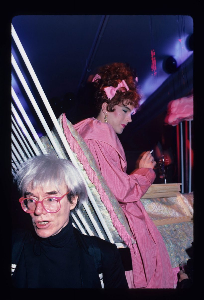 Andy Warhol at the Fairy Tale Installation at the Area Club, NY 1985