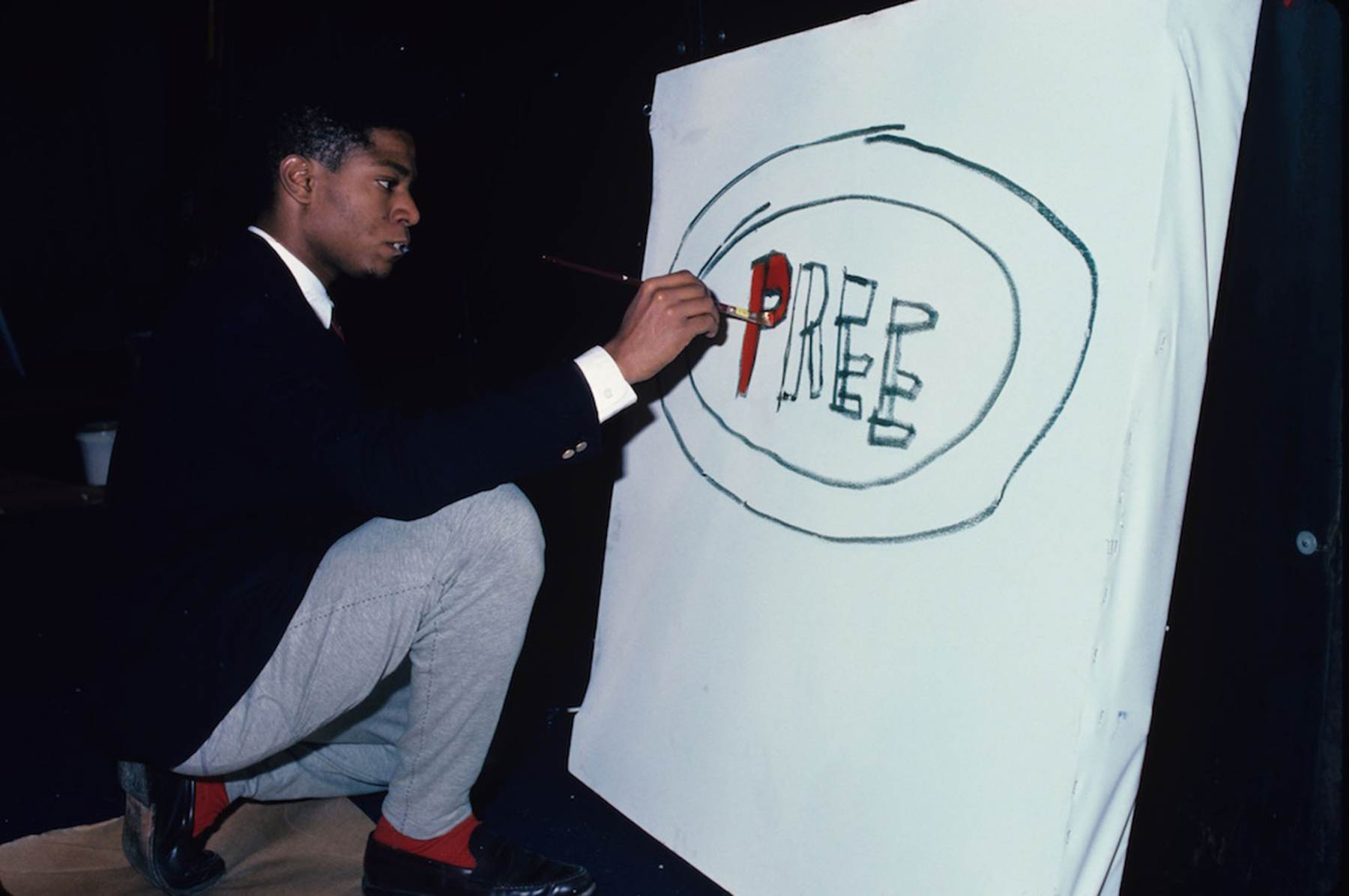 Basquiat Paints for his Art Installation at the Area Club, NY 1985