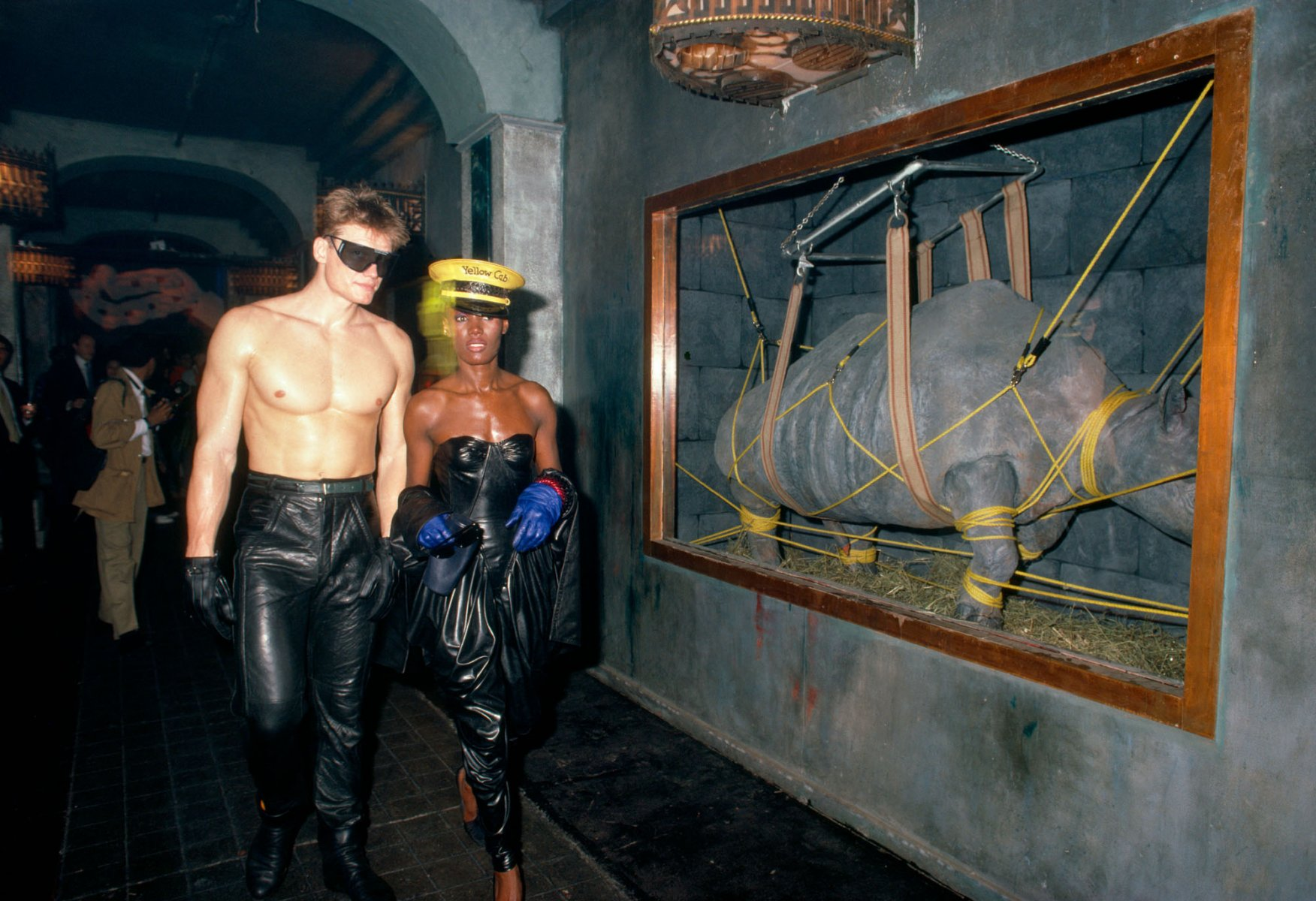 Dolph Lundgren and Grace Jones at the Area Club, NY 1984