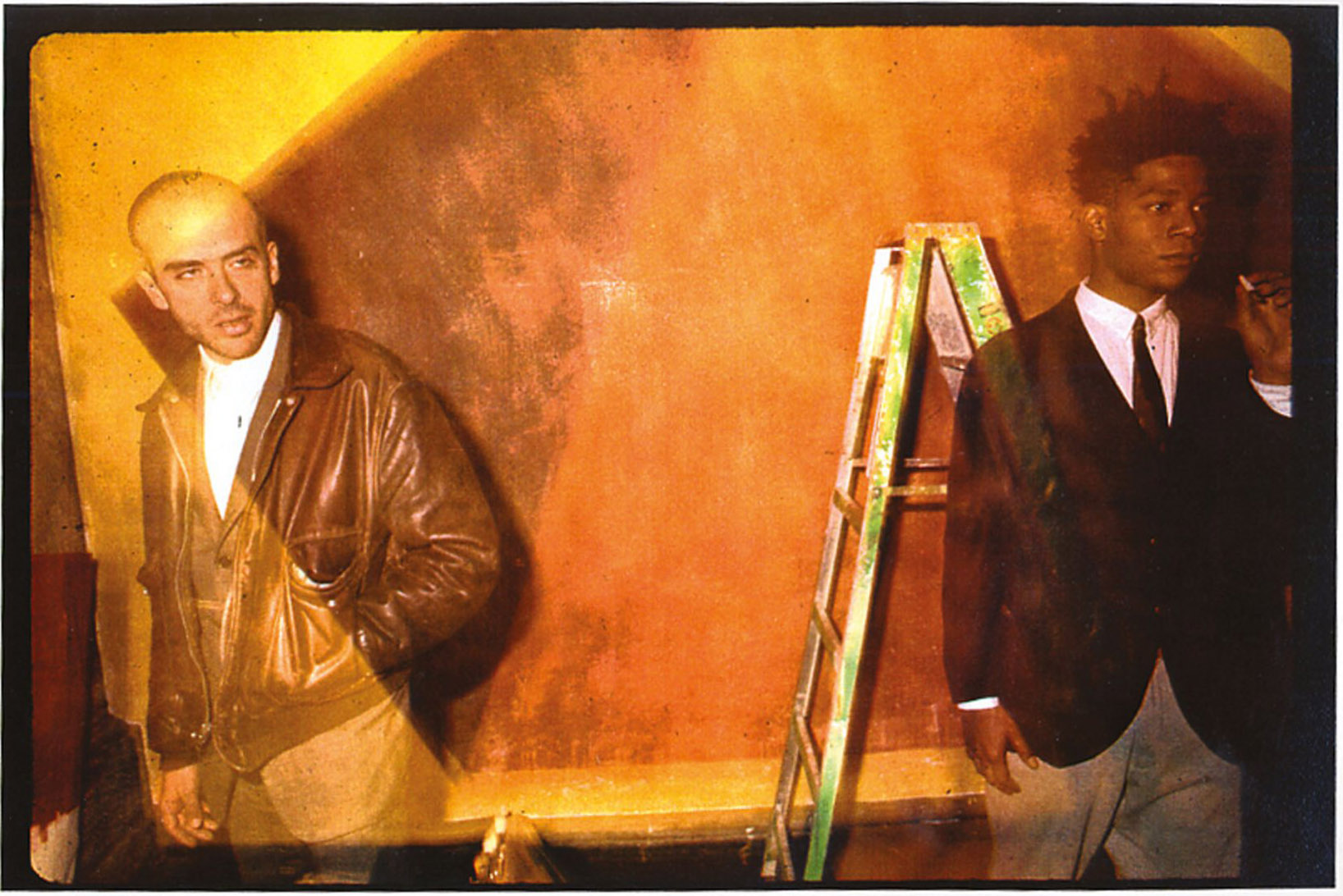 Francesco Clemente and Jean Michel Basquiat at the Area Club, NY 1985