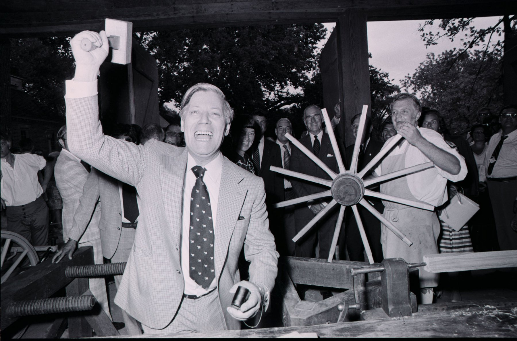 Chancellor Helmut Schmidt Making Fun with the Photographer, Colonial Williamsburg, 1976