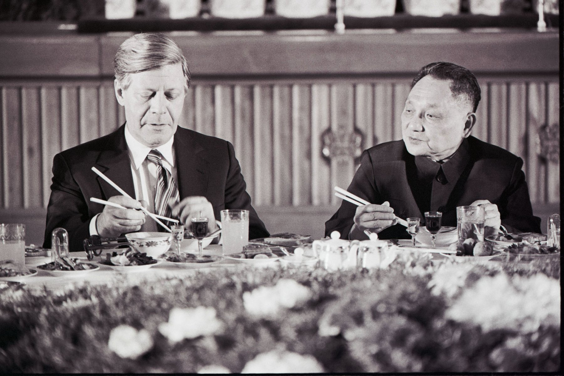 Chancellor Helmut Schmidt and First Vice Premier of China Deng Xiaoping, 1975