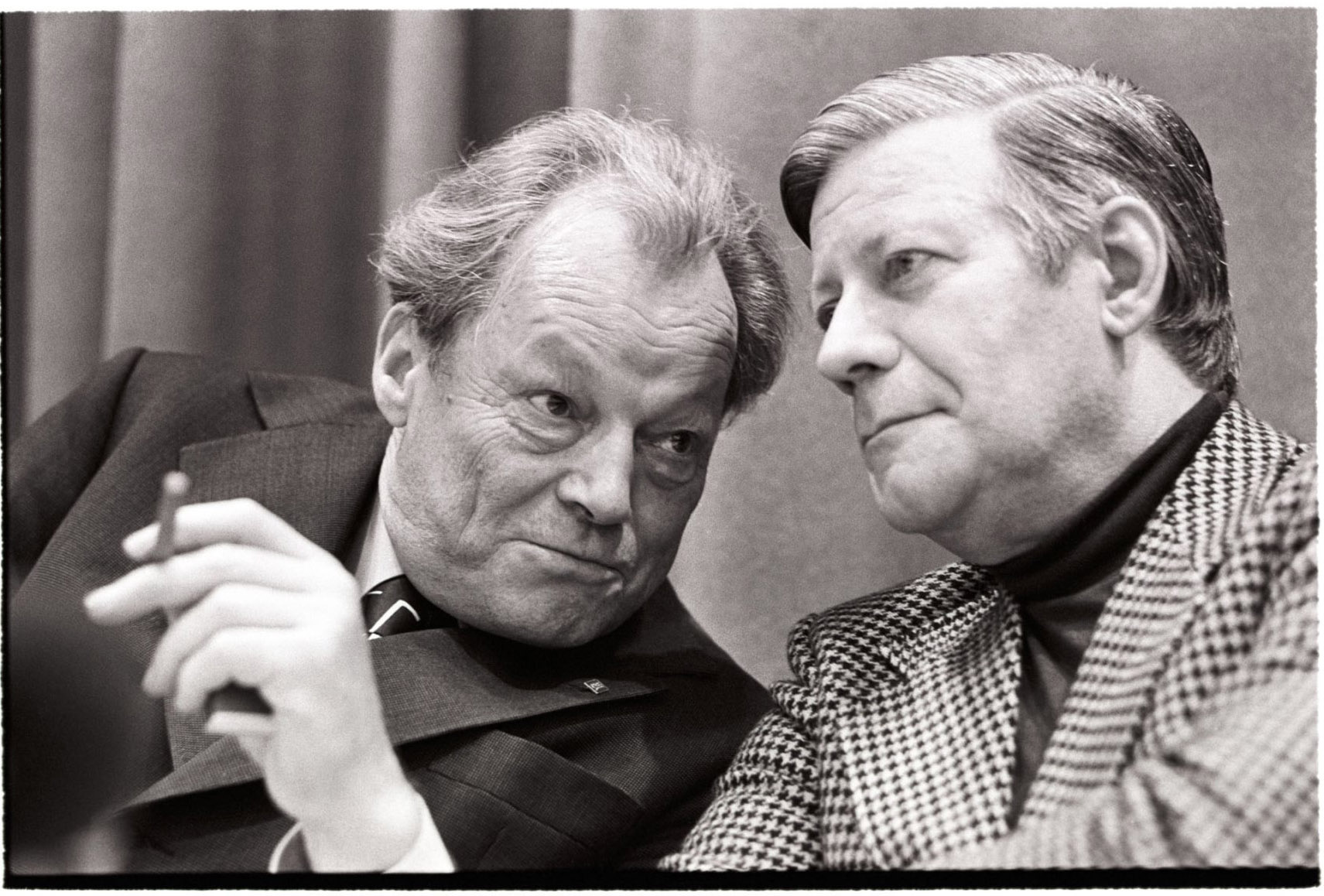 Willy Brandt and Helmut Schmidt, Ex-Chancellor and Chancellor of the Federal Republic of Germany, Bonn 1975