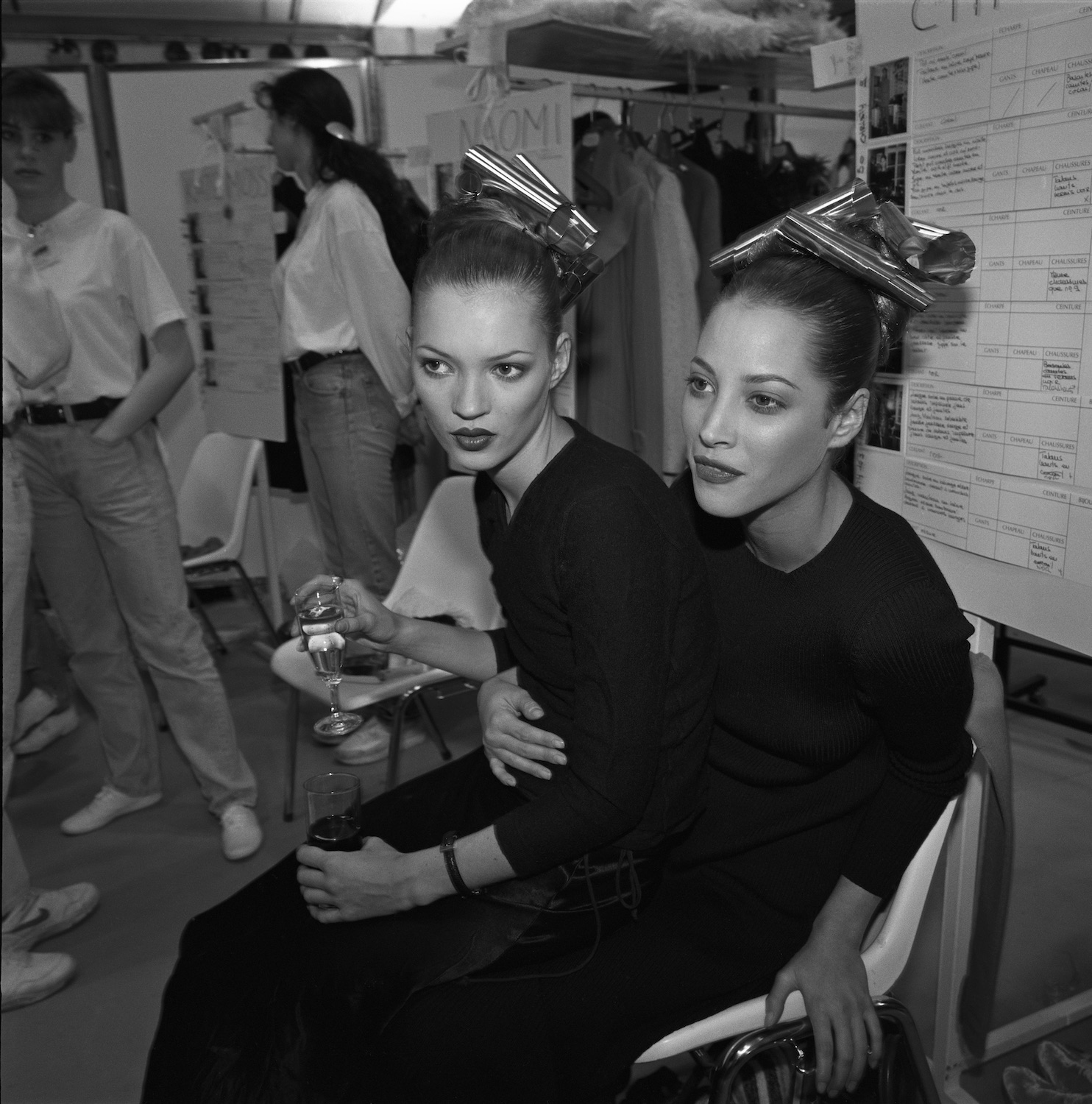 Kate Moss and Christie Turlington Backstage, Paris 1994