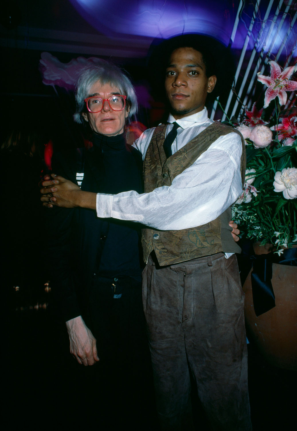 Andy Warhol and Jean-Michel Basquiat at the Area Nightclub, N.Y. 1985